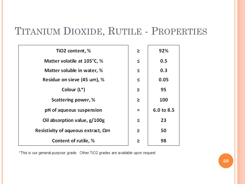 T ITANIUM D IOXIDE, R UTILE - P ROPERTIES 59 *This is our general-purpose grade.