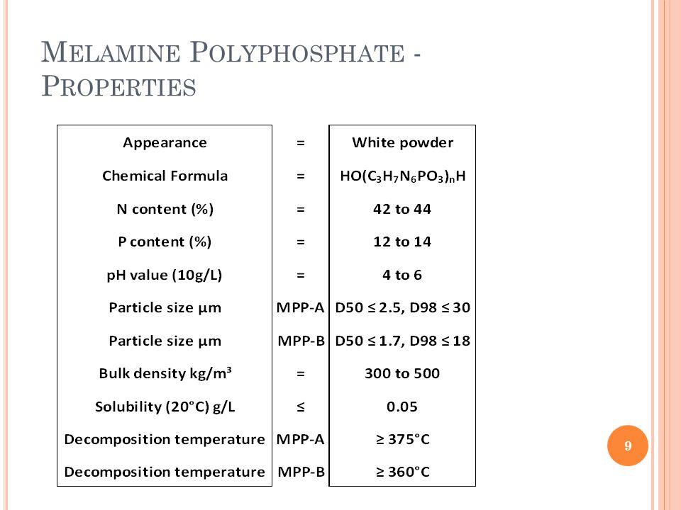 M ELAMINE P YROPHOSPHATE (P YRO ) Applications Useful in fabrics, nylons, paint, paper and plastics as flame retardant.