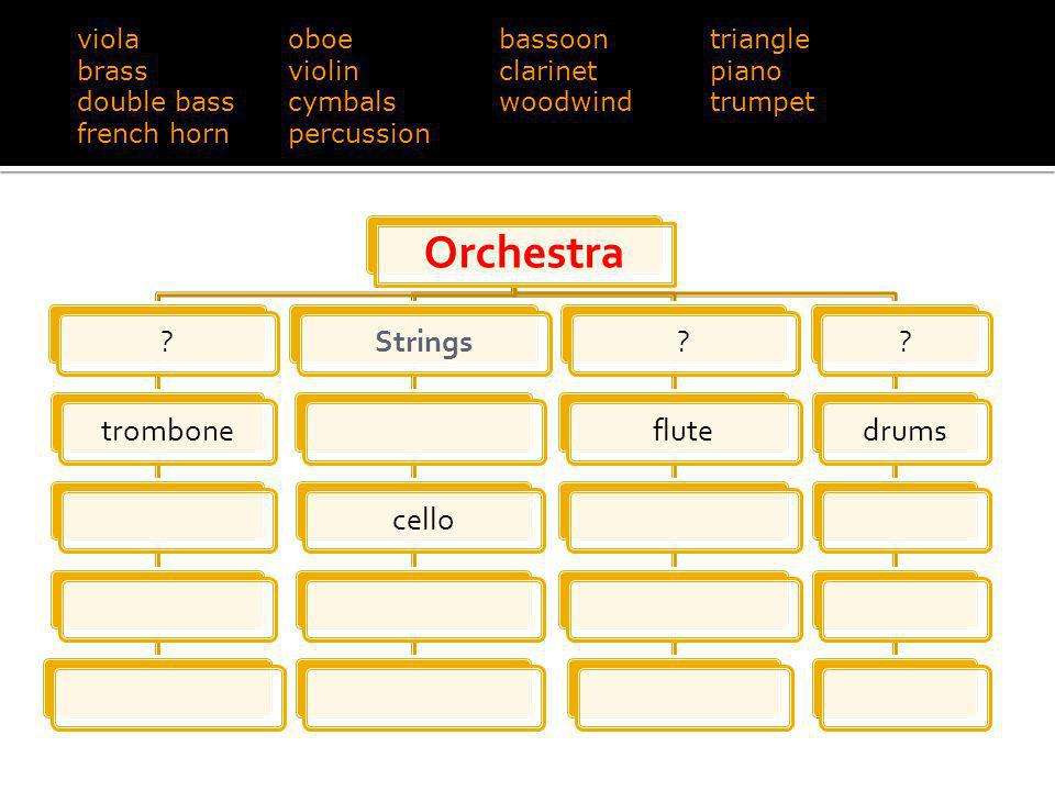 Orchestra ?tromboneStringscello?flute?drums violaoboebassoontriangle brassviolinclarinetpiano double basscymbalswoodwindtrumpet french hornpercussion