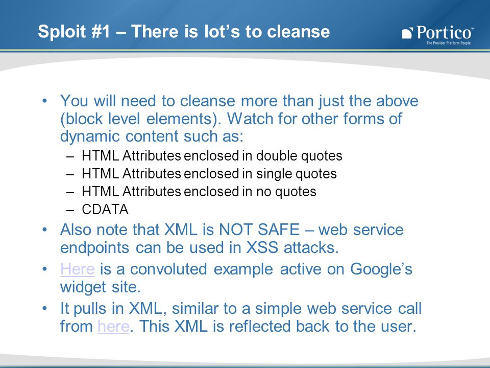 Sploit #1 – There is lots to cleanse You will need to cleanse more than just the above (block level elements).