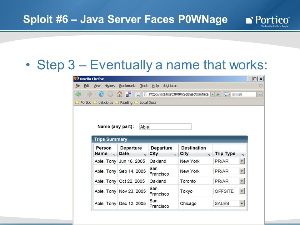 Sploit #6 – Java Server Faces P0WNage Step 3 – Eventually a name that works: