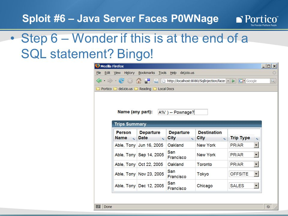 Sploit #6 – Java Server Faces P0WNage Step 6 – Wonder if this is at the end of a SQL statement.
