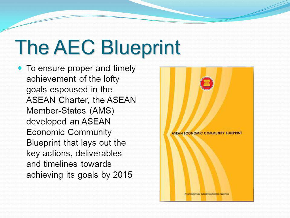 The AEC Blueprint To ensure proper and timely achievement of the lofty goals espoused in the ASEAN Charter, the ASEAN Member-States (AMS) developed an
