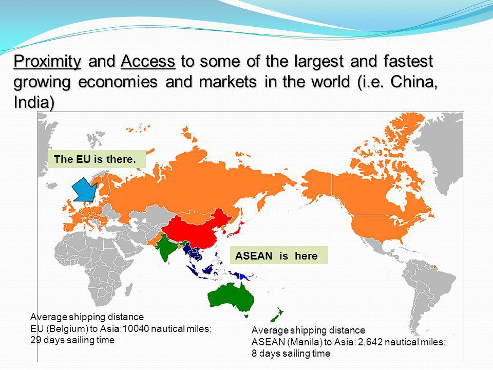 Proximity and Access to some of the largest and fastest growing economies and markets in the world (i.e. China, India) The EU is there. Average shippi