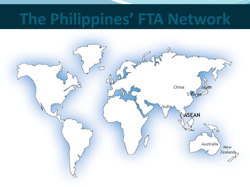 The Philippines FTA Network ChinaJapan Australia New Zealand India S.Korea ASEAN
