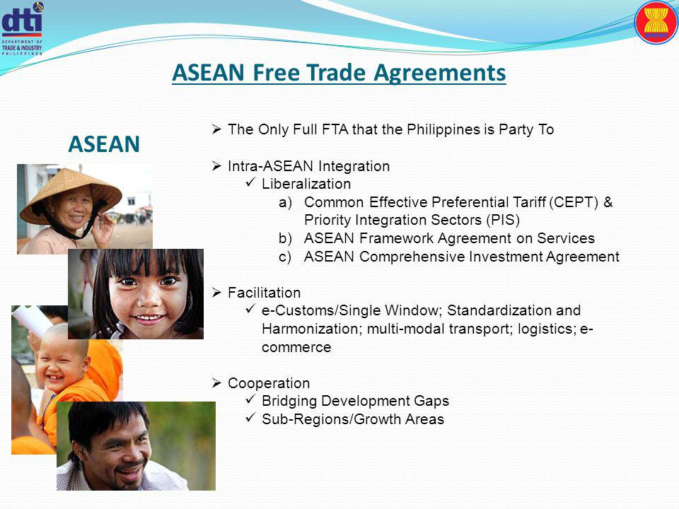 ASEAN Free Trade Agreements The Only Full FTA that the Philippines is Party To Intra-ASEAN Integration Liberalization a)Common Effective Preferential Tariff (CEPT) & Priority Integration Sectors (PIS) b)ASEAN Framework Agreement on Services c)ASEAN Comprehensive Investment Agreement Facilitation e-Customs/Single Window; Standardization and Harmonization; multi-modal transport; logistics; e- commerce Cooperation Bridging Development Gaps Sub-Regions/Growth Areas ASEAN