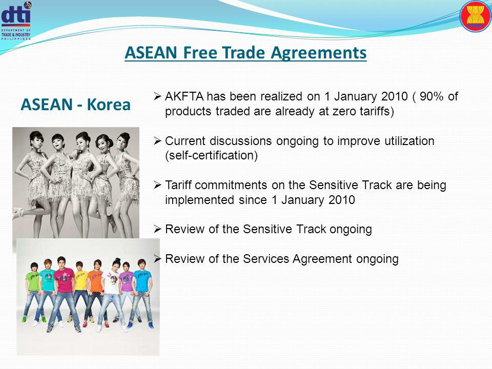 ASEAN Free Trade Agreements AKFTA has been realized on 1 January 2010 ( 90% of products traded are already at zero tariffs) Current discussions ongoing to improve utilization (self-certification) Tariff commitments on the Sensitive Track are being implemented since 1 January 2010 Review of the Sensitive Track ongoing Review of the Services Agreement ongoing ASEAN - Korea