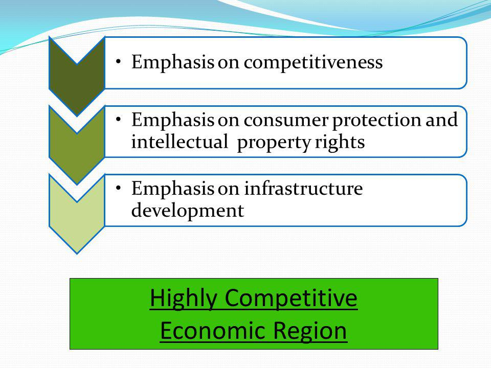 Emphasis on competitiveness Emphasis on consumer protection and intellectual property rights Emphasis on infrastructure development Highly Competitive