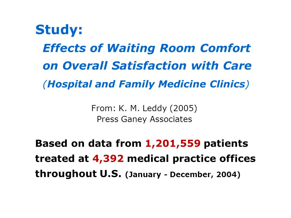 Study: Effects of Waiting Room Comfort on Overall Satisfaction with Care (Hospital and Family Medicine Clinics) From: K. M. Leddy (2005) Press Ganey A
