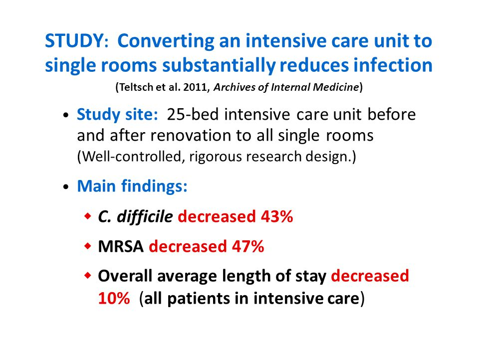 STUDY : Converting an intensive care unit to single rooms substantially reduces infection Study site: 25-bed intensive care unit before and after renovation to all single rooms (Well-controlled, rigorous research design.) Main findings: C.