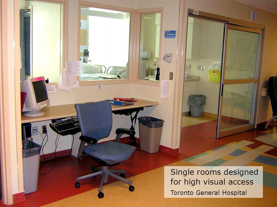 Single rooms designed for high visual access Toronto General Hospital
