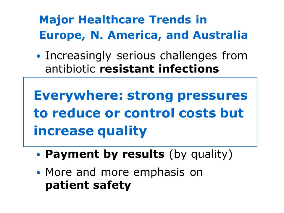 Increasingly serious challenges from antibiotic resistant infections Sicker patients (rising acuity) Increasing importance of patient privacy and dign