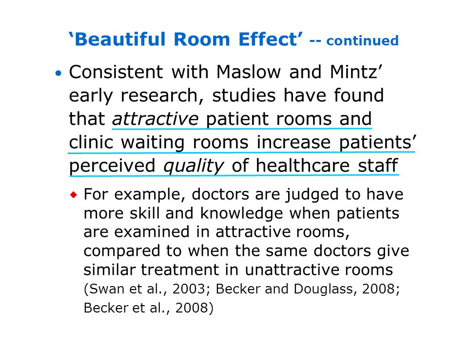Consistent with Maslow and Mintz early research, studies have found that attractive patient rooms and clinic waiting rooms increase patients perceived