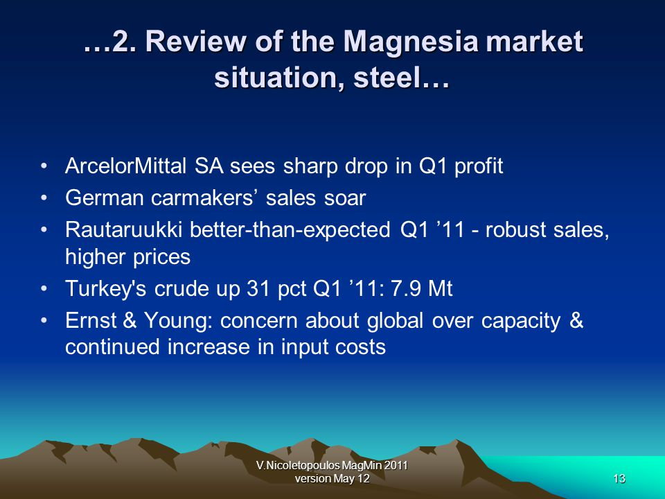 V.Nicoletopoulos MagMin 2011 version May 1213 …2. Review of the Magnesia market situation, steel… ArcelorMittal SA sees sharp drop in Q1 profit German