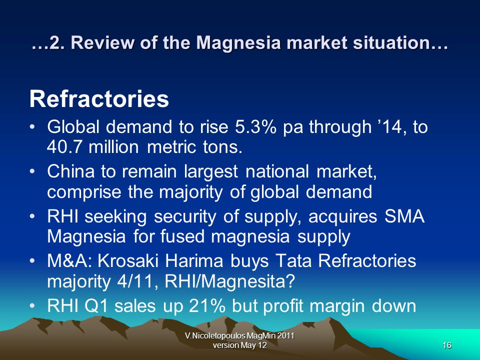 V.Nicoletopoulos MagMin 2011 version May 1216 …2. Review of the Magnesia market situation… Refractories Global demand to rise 5.3% pa through 14, to 4
