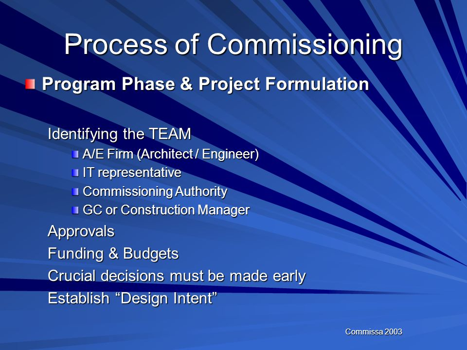 Commissa 2003 Process of Commissioning Program Phase & Project Formulation Design Phase Construction Phase Acceptance Phase & Construction Close Out P