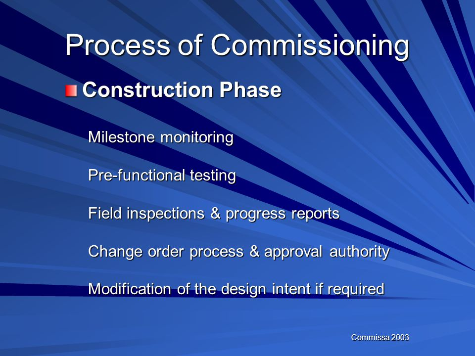 Commissa 2003 Process of Commissioning Design Phase Architectural Review Needs assessment/inventory of IT requirements Design Intent documentation sub