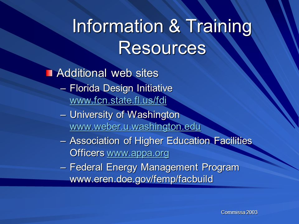 Commissa 2003 Information & Training Resources TIA/EIA – Telecommunications Industry Association (www.tia.org) NIBI – National Institute of Building S