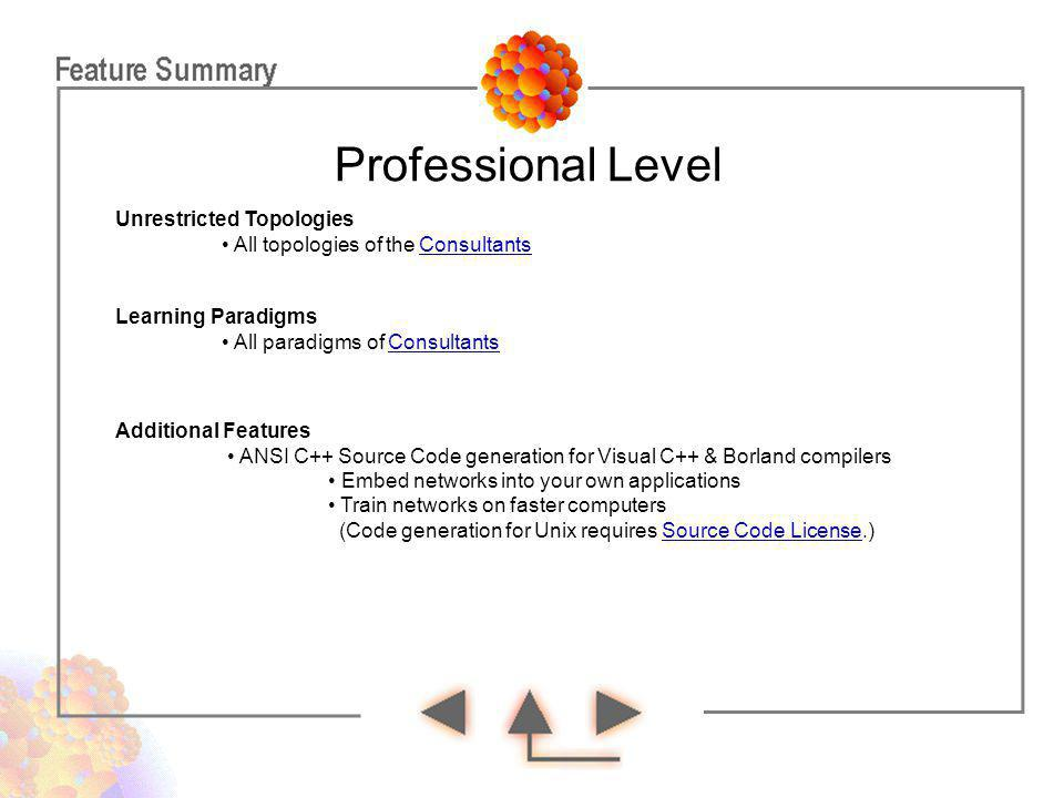 Professional Level Learning Paradigms All paradigms of ConsultantsConsultants Additional Features ANSI C++ Source Code generation for Visual C++ & Bor