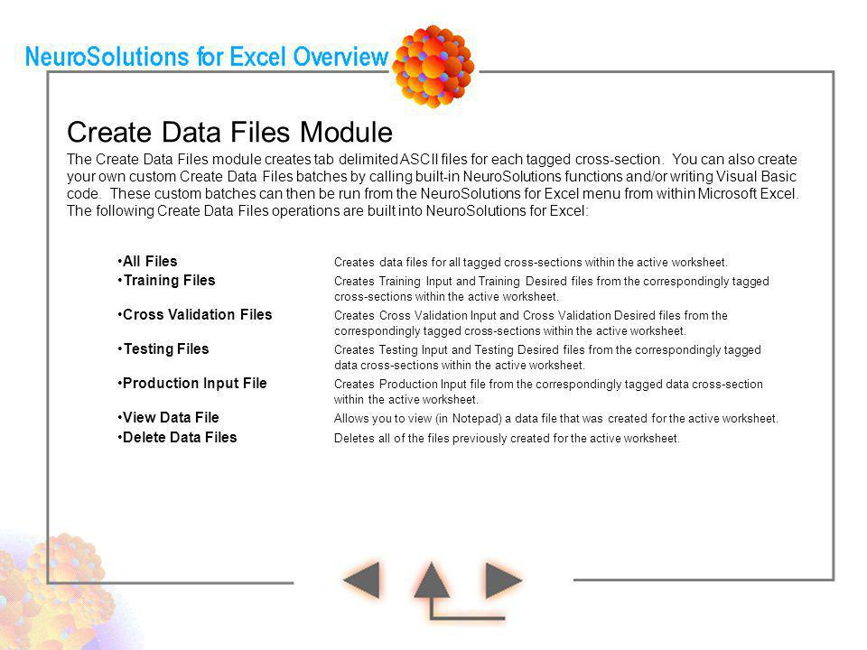 Create Data Files Module The Create Data Files module creates tab delimited ASCII files for each tagged cross-section. You can also create your own cu