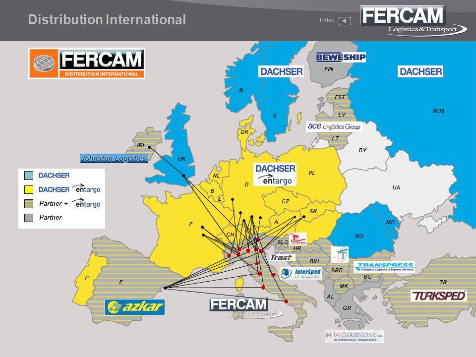 Index Distribution International CH NL F E D SK B DK S N IRL UK BG PL TR GR L P FIN SLO HR BIH SRB MK CZ LT LV EST MD UA RUS BY RO AL Partner + Partne