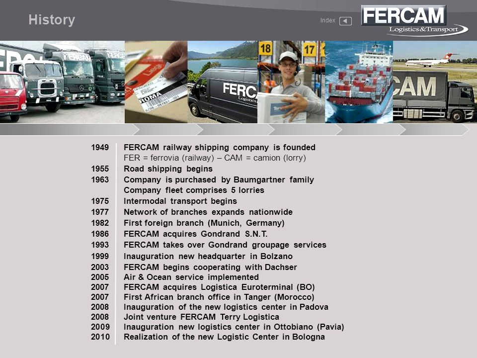 Broad worldwide network of exclusive partners Company-owned customs warehouses, in-house customs services with fully-qualified staff and VAT deposits On-time deliveries Handling and shipping of hazardous and/or perishable goods ATA Carnet Guaranteed departures twice a week Information on shipment status Swift, effective, step-by-step customs assistance Priority boarding E-mail or telephone notification of departure Pick-up from depot Air & Ocean AIR Index