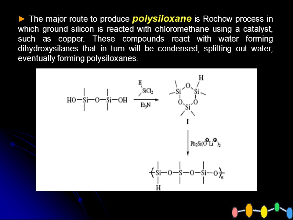 The major route to produce polysiloxane is Rochow process in which ground silicon is reacted with chloromethane using a catalyst, such as copper.