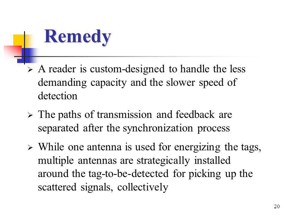 20 Remedy A reader is custom-designed to handle the less demanding capacity and the slower speed of detection The paths of transmission and feedback are separated after the synchronization process While one antenna is used for energizing the tags, multiple antennas are strategically installed around the tag-to-be-detected for picking up the scattered signals, collectively