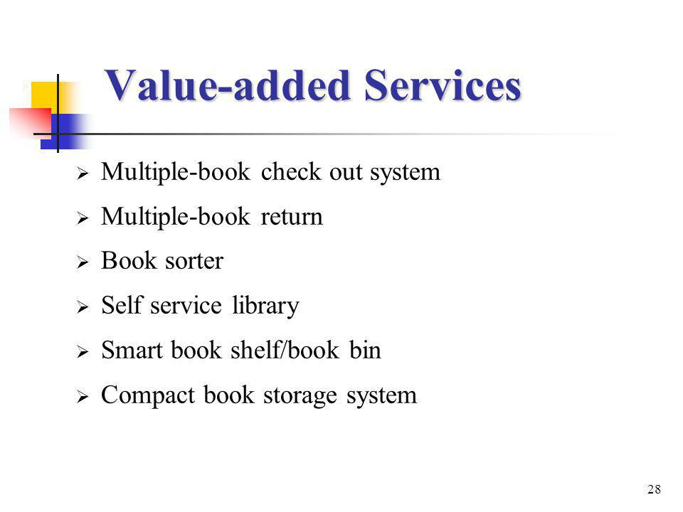 28 Value-added Services Multiple-book check out system Multiple-book return Book sorter Self service library Smart book shelf/book bin Compact book storage system