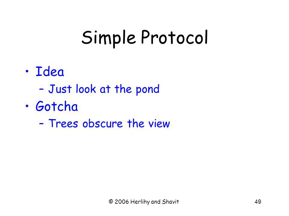 © 2006 Herlihy and Shavit49 Simple Protocol Idea –Just look at the pond Gotcha –Trees obscure the view