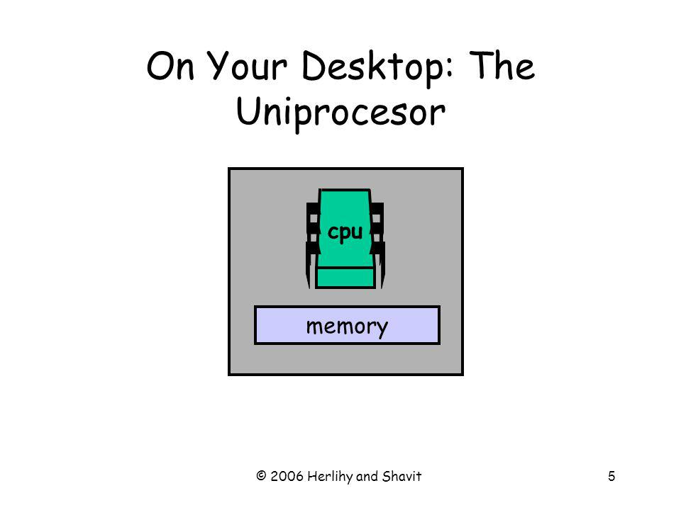 © 2006 Herlihy and Shavit5 On Your Desktop: The Uniprocesor memory cpu