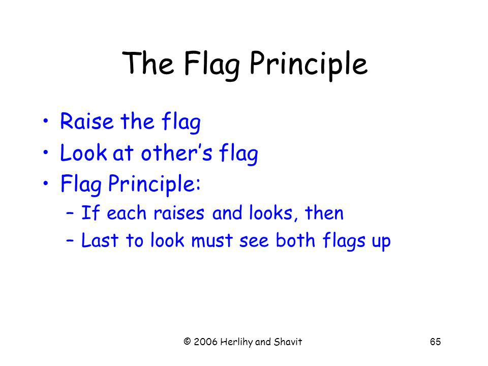 © 2006 Herlihy and Shavit65 The Flag Principle Raise the flag Look at others flag Flag Principle: –If each raises and looks, then –Last to look must see both flags up
