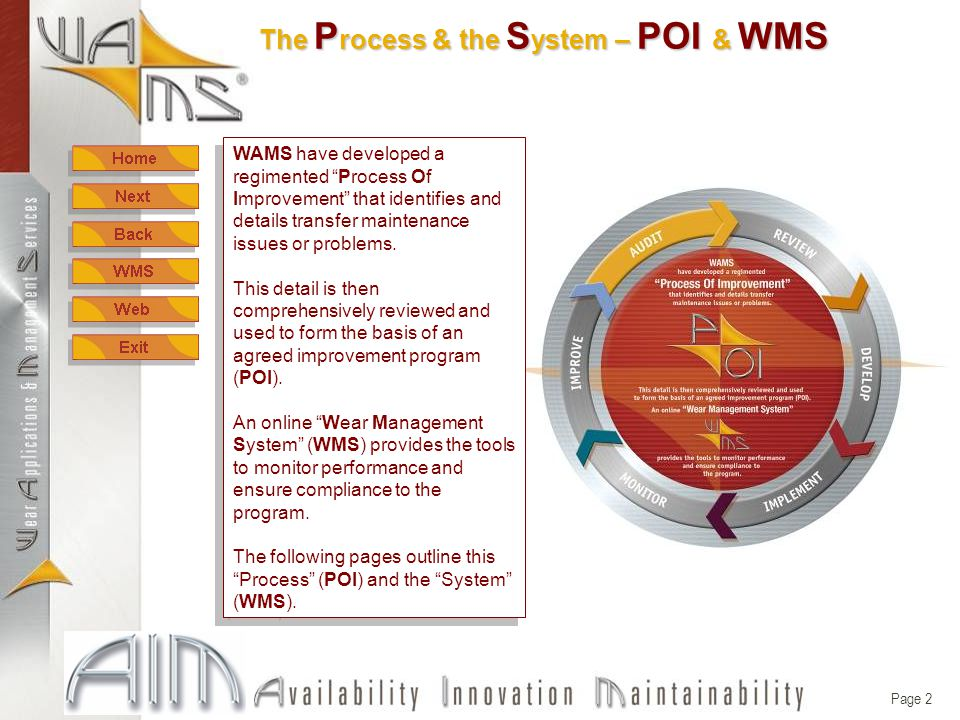 Page 2 The P rocess & the S ystem – POI & WMS WAMS have developed a regimented Process Of Improvement that identifies and details transfer maintenance issues or problems.
