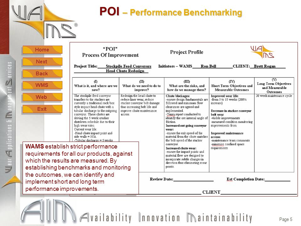 Page 5 POI – Performance Benchmarking WAMS establish strict performance requirements for all our products, against which the results are measured.
