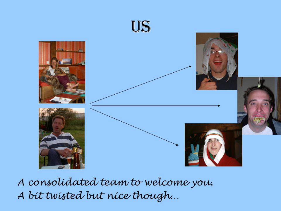 us A consolidated team to welcome you. A bit twisted but nice though…
