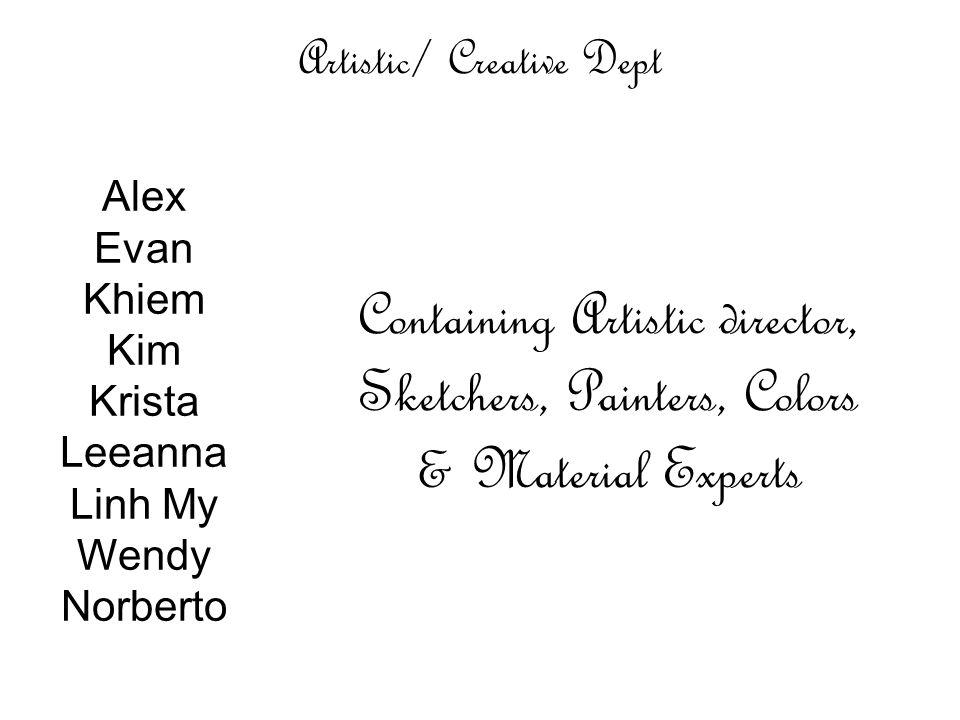 Artistic/ Creative Dept Alex Evan Khiem Kim Krista Leeanna Linh My Wendy Norberto Containing Artistic director, Sketchers, Painters, Colors & Material