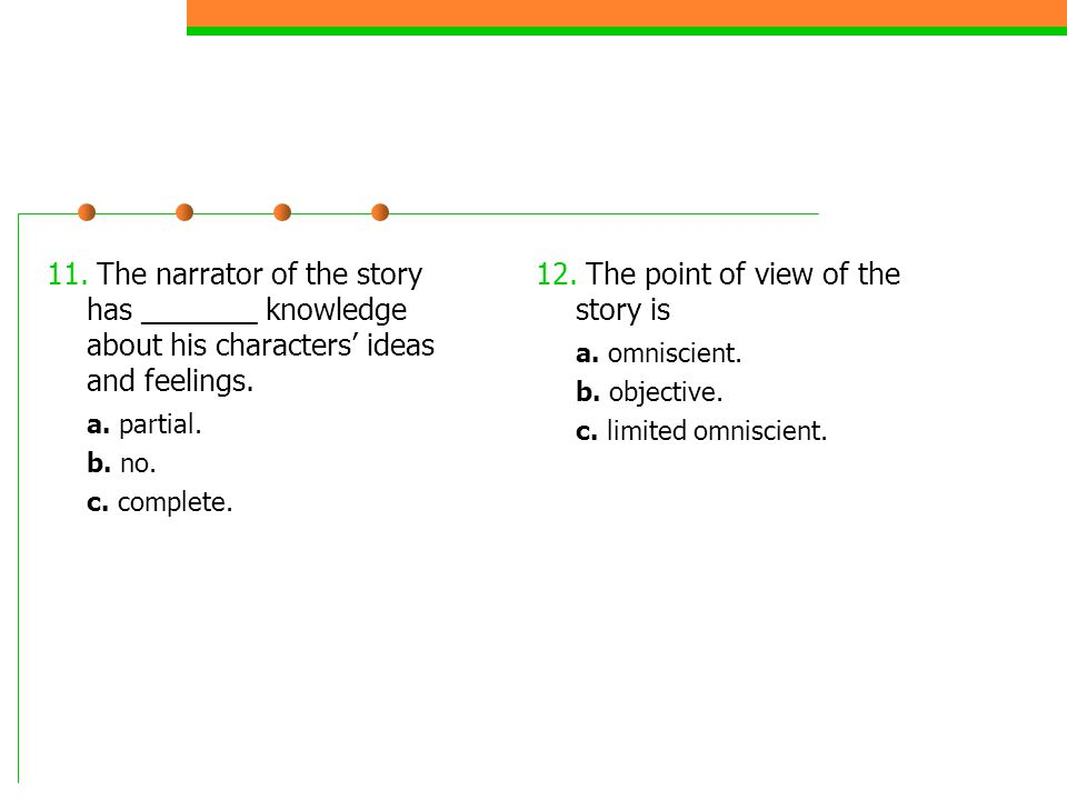 11.The narrator of the story has _______ knowledge about his characters ideas and feelings.