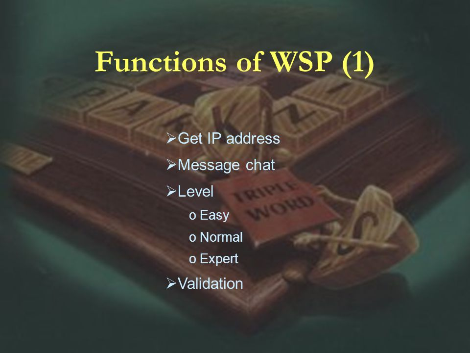 Functions of WSP (1) Get IP address Message chat Level o Easy o Normal o Expert Validation