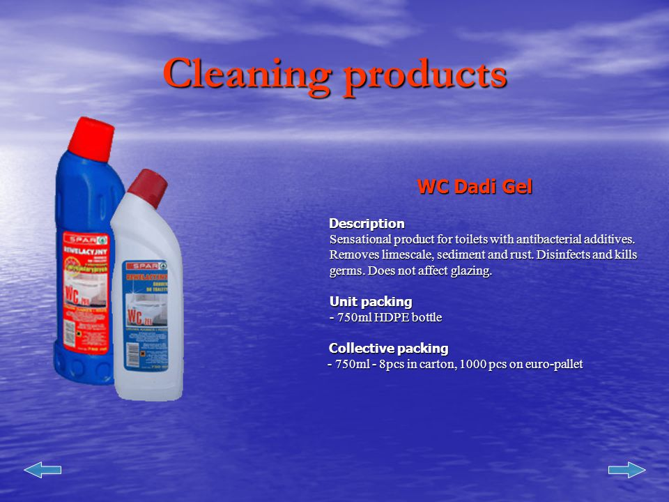 Cleaning products Dishwashing liquidDescription Manufactured as concentrate - contains protective system, does not dehydrate skin - lemon or mint fragrance - yellow or green color Unit Packing - 500ml PET,/750 ml PET - 500ml PET,/750 ml PET Collective packing Collective packing - 500ml - 8 pcs in carton, 1400pcs on euro-pallet - 500ml - 8 pcs in carton, 1400pcs on euro-pallet - -