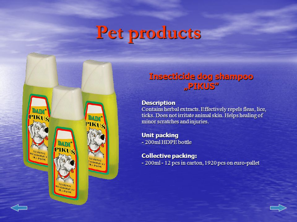 Pet products Insecticide dog shampoo Dadi - TRUX Description Contains herbal extracts.