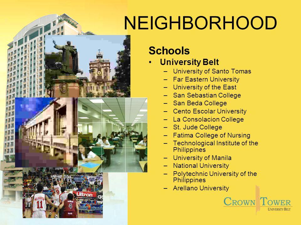 NEIGHBORHOOD Schools University Belt –University of Santo Tomas –Far Eastern University –University of the East –San Sebastian College –San Beda Colle