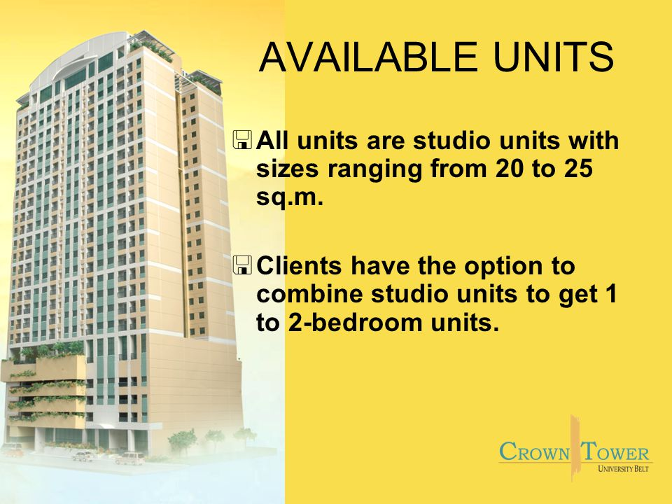 AVAILABLE UNITS <All units are studio units with sizes ranging from 20 to 25 sq.m.