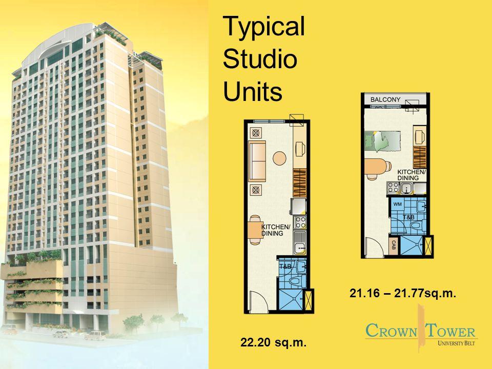 21.16 – 21.77sq.m. Typical Studio Units 22.20 sq.m.