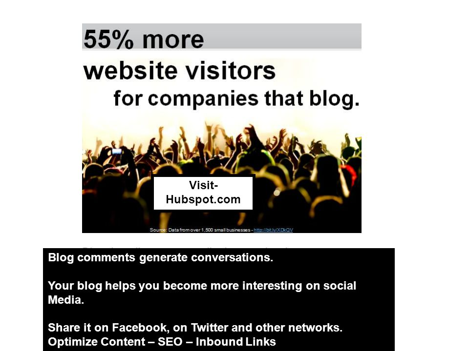 Blog comments generate conversations. Your blog helps you become more interesting on social Media.