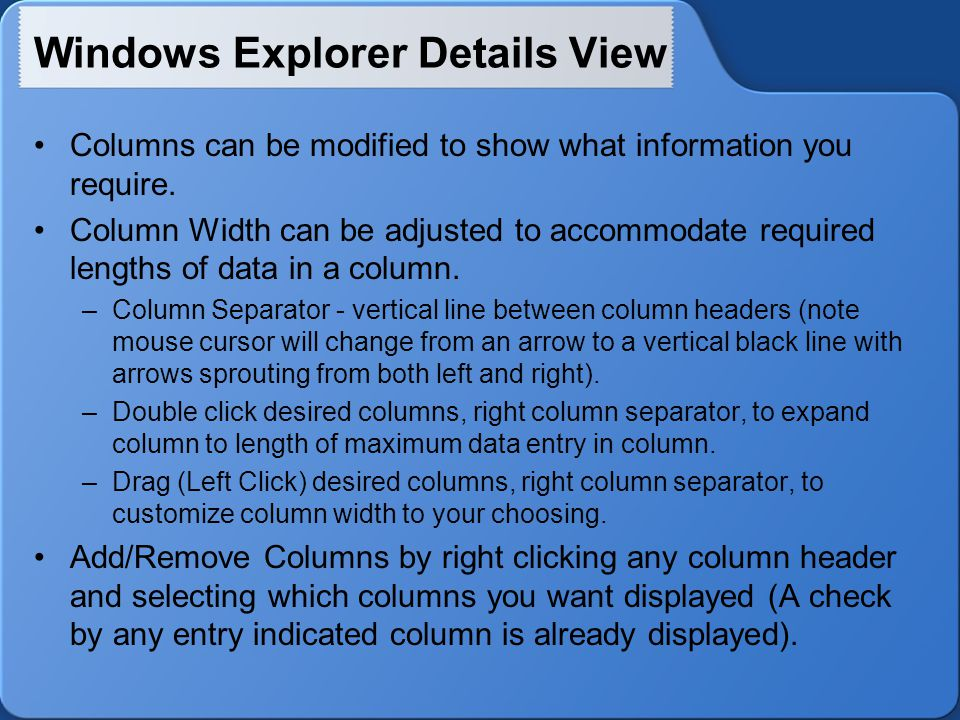 Windows Explorer Details View Columns can be modified to show what information you require.