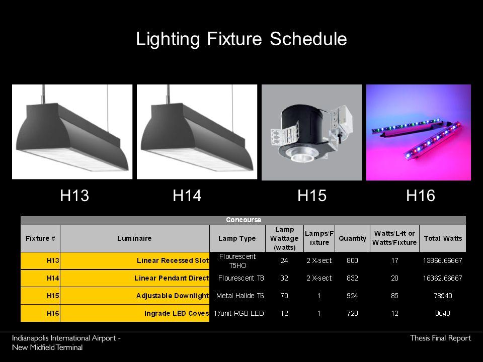 H16H15H14H13 Lighting Fixture Schedule