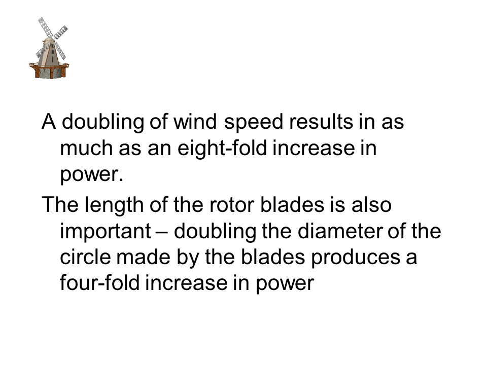 A doubling of wind speed results in as much as an eight-fold increase in power.