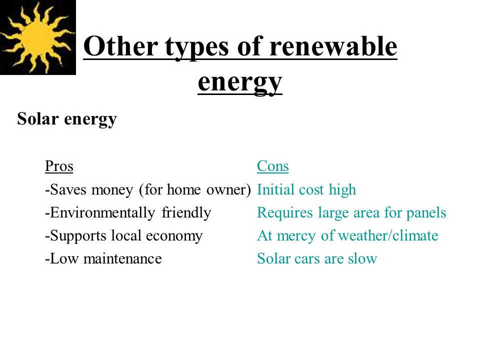 Other types of renewable energy Solar energy ProsCons -Saves money (for home owner)Initial cost high -Environmentally friendlyRequires large area for panels -Supports local economyAt mercy of weather/climate -Low maintenanceSolar cars are slow