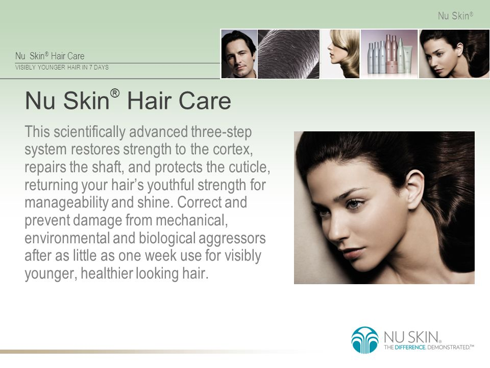Nu Skin ® Hair Care VISIBLY YOUNGER HAIR IN 7 DAYS Nu Skin ® Nu Skin ® Hair Care This scientifically advanced three-step system restores strength to t