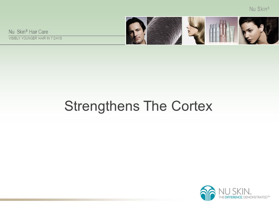 Nu Skin ® Hair Care VISIBLY YOUNGER HAIR IN 7 DAYS Nu Skin ® Strengthens The Cortex